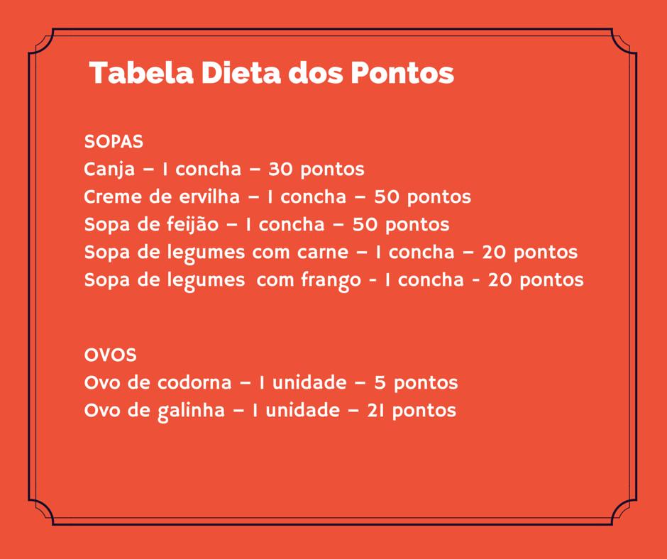 Tabela dieta dos pontos sopas.