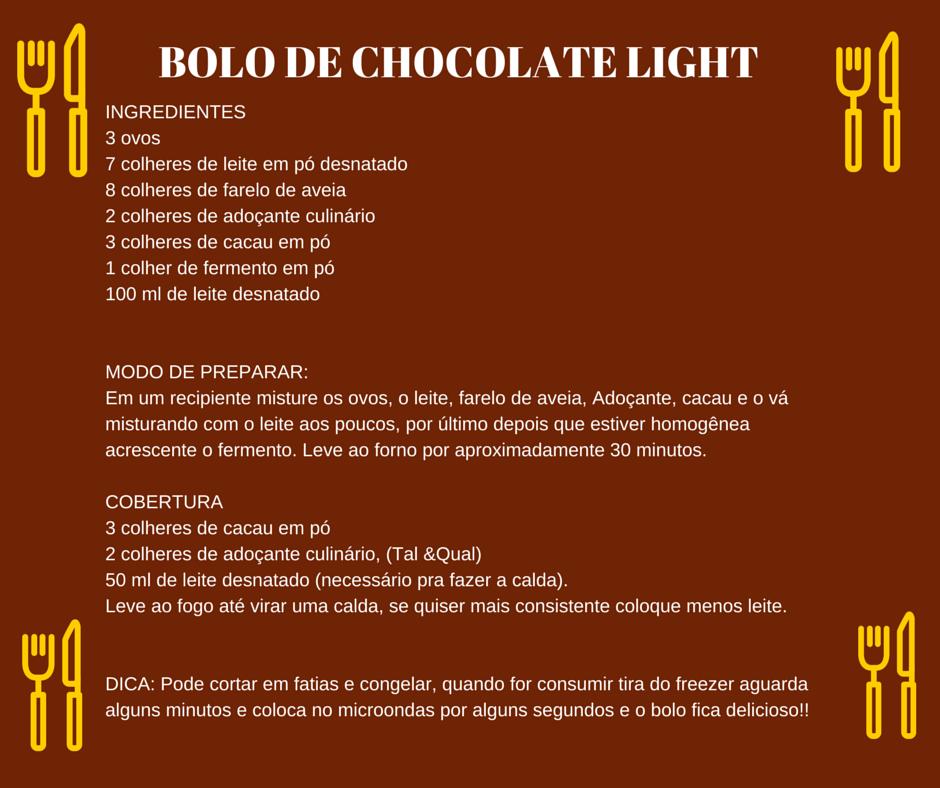 Receita de bolo chocolate light.