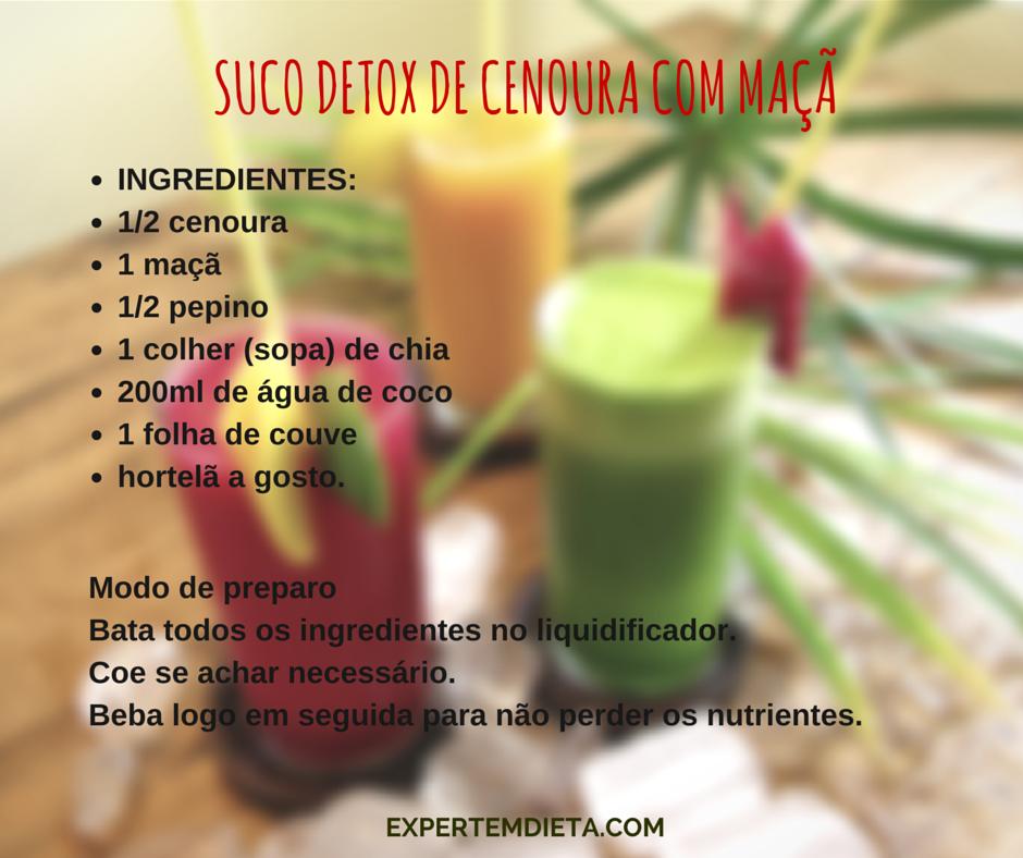 Receita de suco detox com cenoura e maçã para emagrecer.